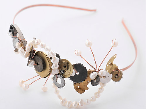 copper steampunk watch part tiara