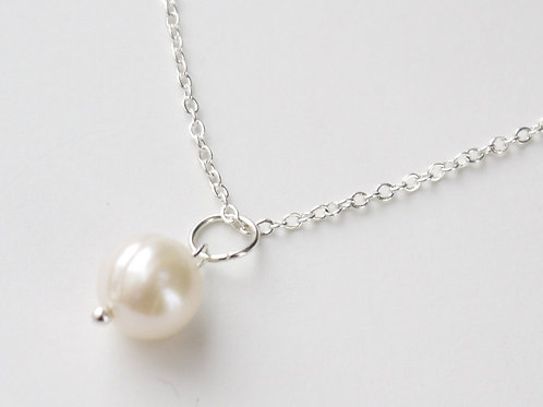 single large 10mm pearl silver necklace