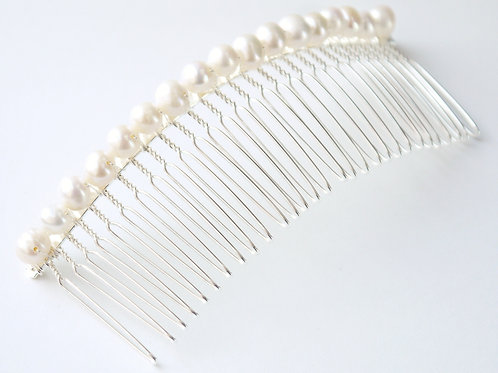 long ivory pearl comb gold or silver