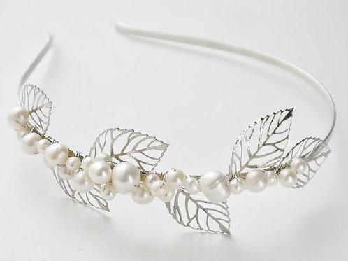 leaves & ivory pearls side tiara