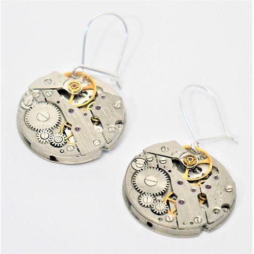 round vintage watch mechanism earrings on sterling silver hooks