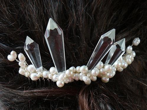 vintage chandelier crystal & pearl hair comb