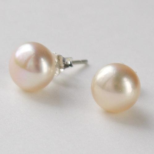 8mm peach pearl sterling silver stud earrings