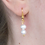 Thumbnail: double round freshwater pearl silver hook earrings