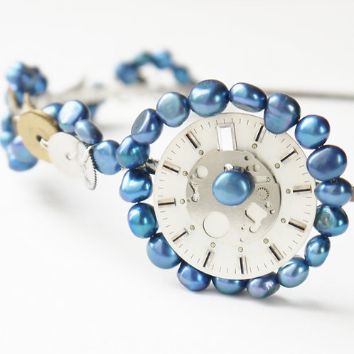blue pearls and vintage watch parts side tiara