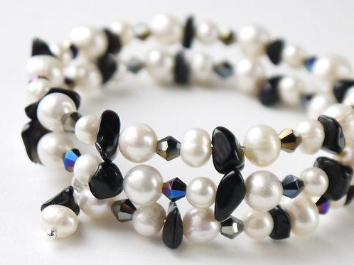 pearl, onyx & black AB crystal bangle bracelet