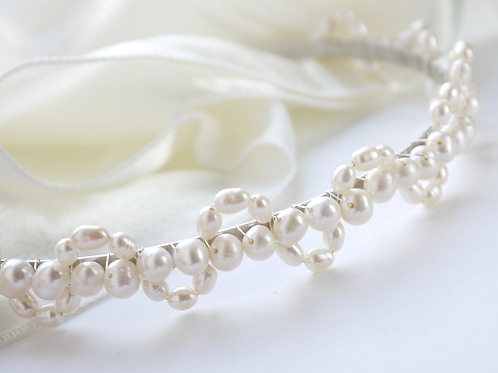 ivory pearl larger lace design bridal headband