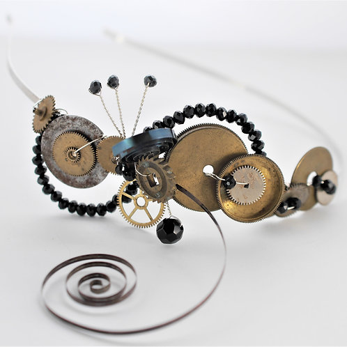 steampunk watch part tiara with spring