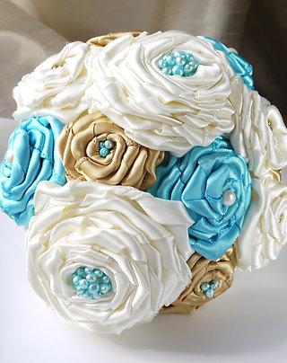 Bespoke satin rose & freshwater pearl bouquet
