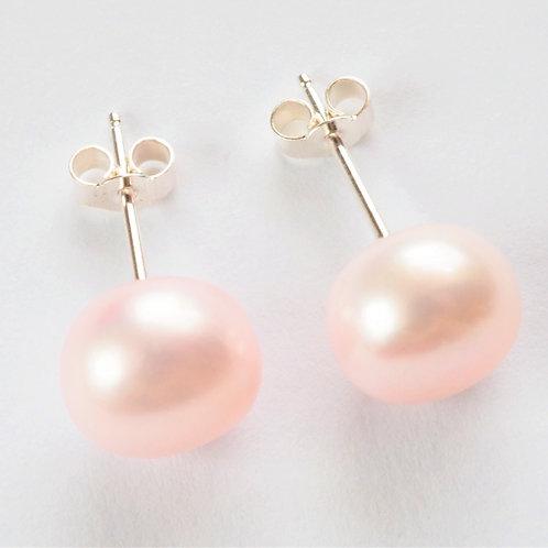 baby pink pearl sterling silver stud earrings 10mm
