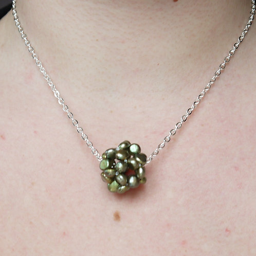 olive green nugget pearl cluster necklace