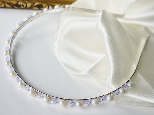 lilac & clear AB crystal and ivory pearl headband