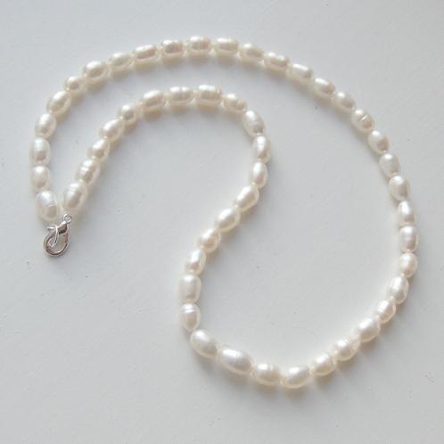 "17"" ivory medium white rice shaped pearl necklace"