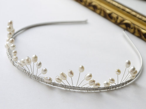 ivory rice pearl bridal tiara, flat fan design