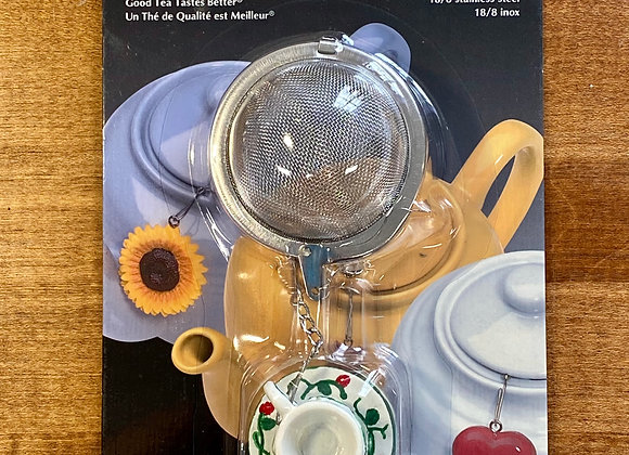 Mesh Tea Infuser with Botanical Tea Cup Ornament