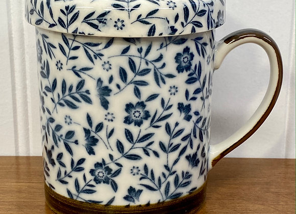 Blue Floral Teacup with Infuser