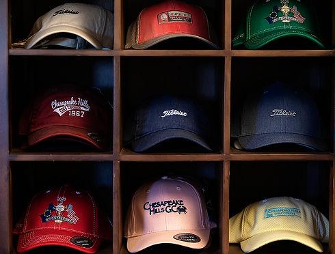 Golf caps on the shelves