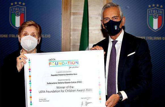 Al Bambino Gesu' il premio UEFA per l'impegno con la FIGC a favore dei bambini