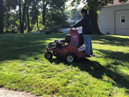 Here they are in action: Aerating a Lawn