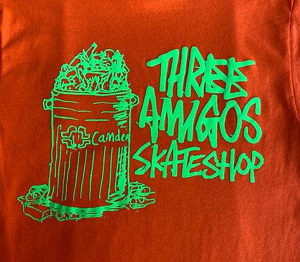 Fos X Three Amigos T Shirt Orange with Fluoro Green Print