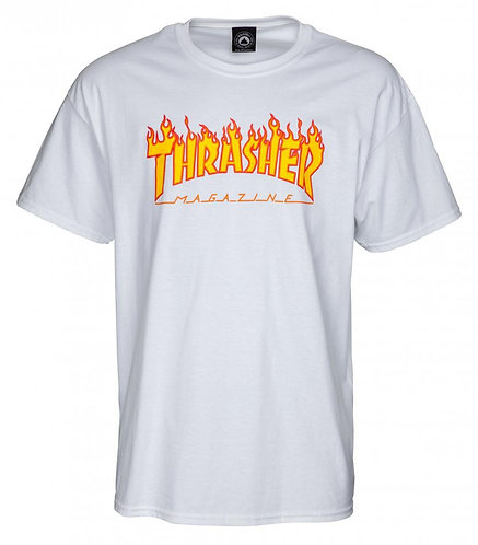 Thrasher Flame Logo T Shirt White