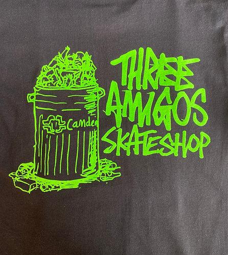 Fos X Three Amigos T Shirt Black With Fluoro Green Print
