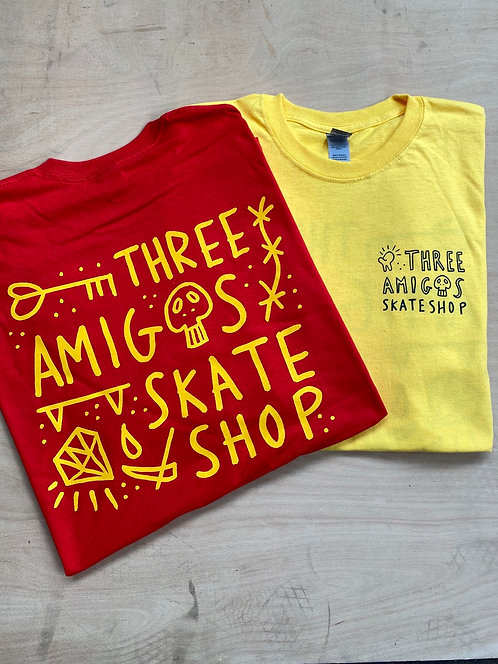 Three Amigos Shop Shirt Yellow With Black Print