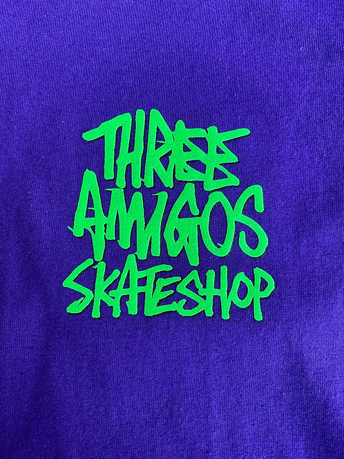 Fos X Three Amigos T Shirg Purple With Fluoro Green  Print