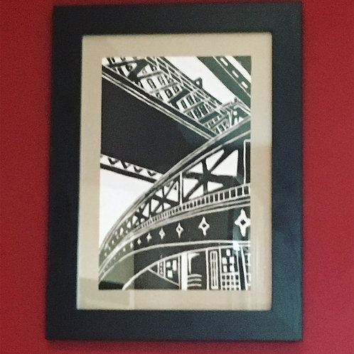 Framed Lino Print, Castlefield Manchester