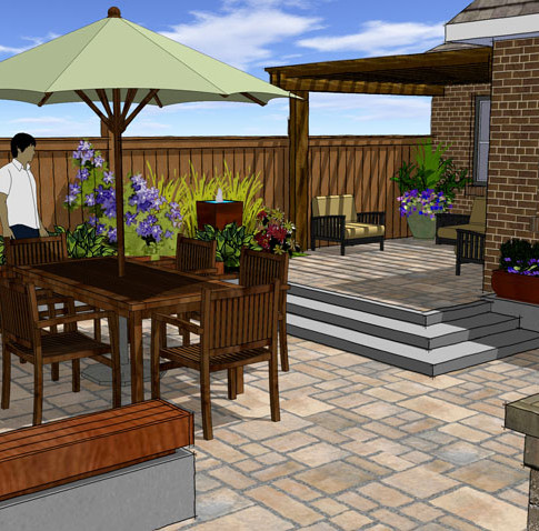 3D Design of Backyard Patio Space using SketchUp