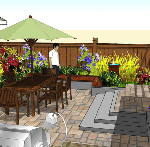 3D SketchUp model of Backyard Patio, Dining Area, Fountain and Landscape