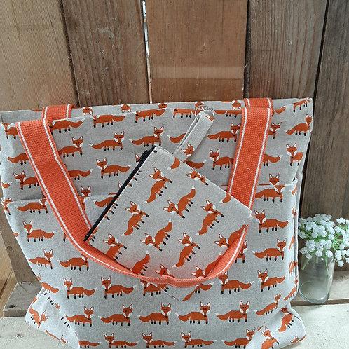Natural Mr Fox Handmade Fabric Tote Bag And Purse Set