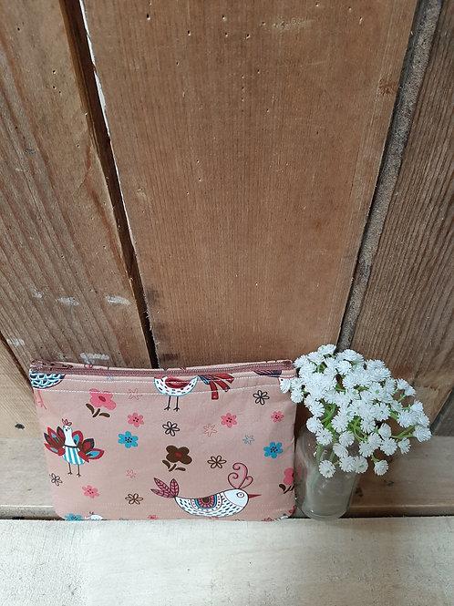 Brown Hen  Handmade Fabric Zipper Case