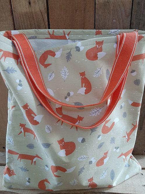 Neutral Mr Fox Handmade Fabric Tote Bag And Purse Set
