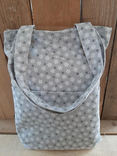 Grey Snowflake Handmade Fabric Tote Bag And Purse Set