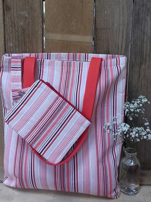 Red striped Handmade Fabric Tote Bag And purse Set