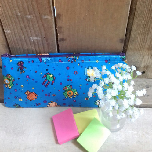 Blue Robot Handmade Fabric Pencil case