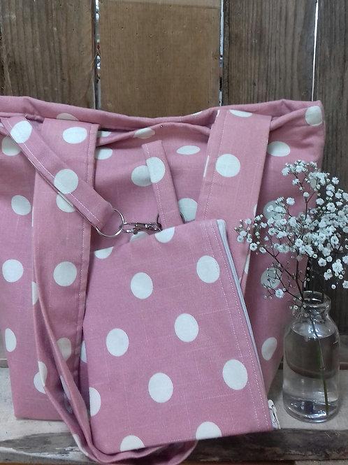 Pink Dotty Handmade Fabric Tote Bag And Purse Set