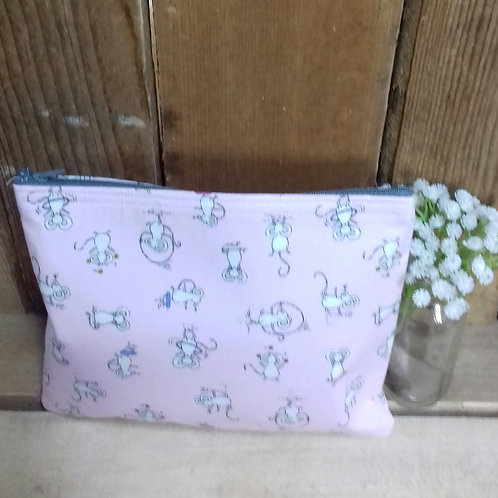 Pink Mouse Handmade Fabric Washbag