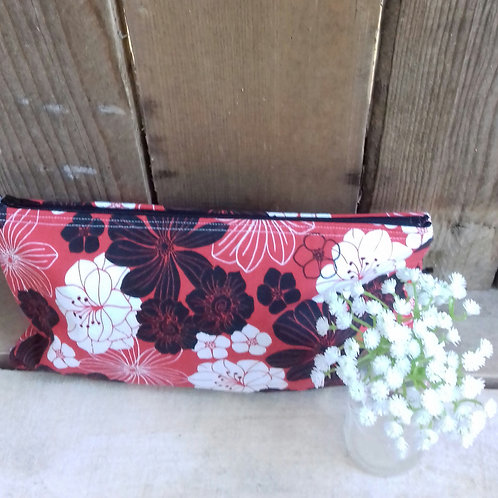 Red And White Flower Handmade Fabric  Zipper Case