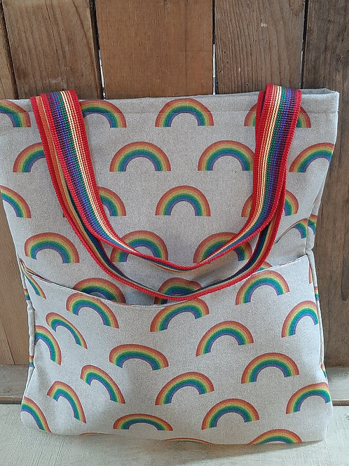 Natural Rainbow   Handmade Fabric Tote Bag And Purse Set