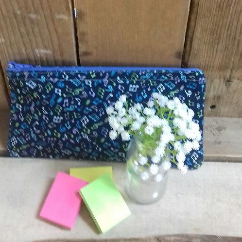 Blue Music Note Handmade Fabric Pencil Case