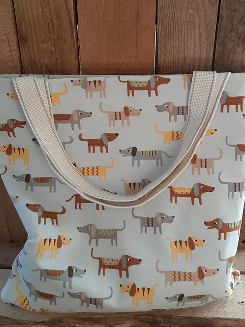 Sausage Dog Light Grey Handmade Fabric Tote Bag And Purse Set