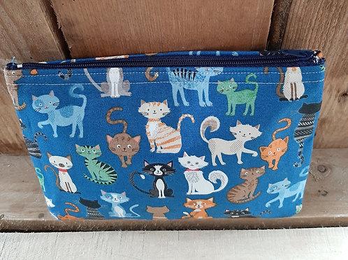 Blue Crafty Cats Handmade Fabric Purse
