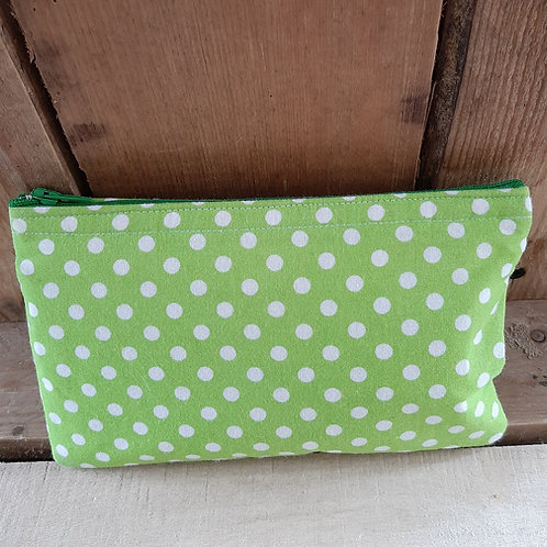 Green & White Candy Spot Handmade Fabric Purse
