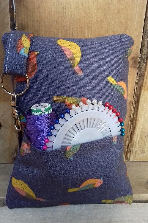 Grey Hedgerow Birds  Handmade Fabric Pincushion
