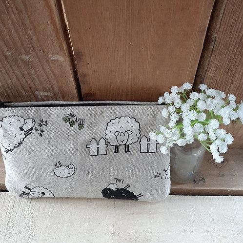 Natural Sheep Handmade Fabric Zipper Case