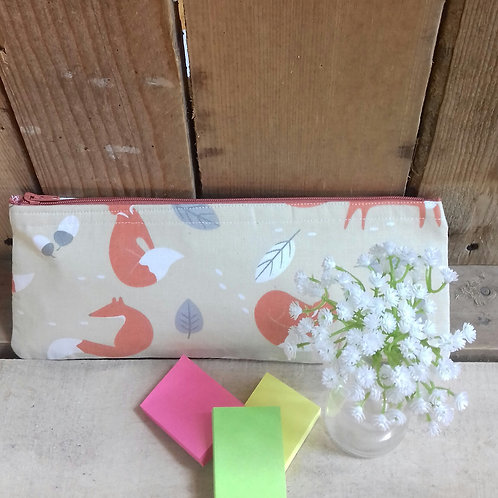 Mr Fox Handmade Fabric Pencil Case