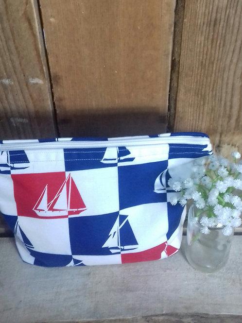 Red & Blue Sail Boats Handmade Fabric Wash bag