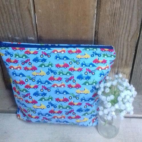 Blue Cars Safari Drive Handmade Fabric wash Bag